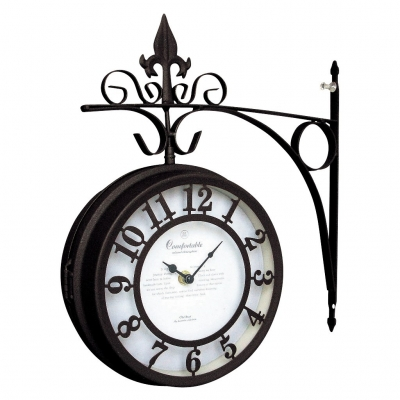 SPICE OLD STREET 壁掛け両面時計 ブラウン Lサイズ