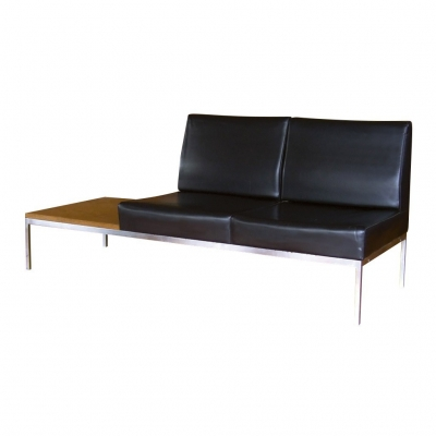 vinyl 2 seat chrome sofa