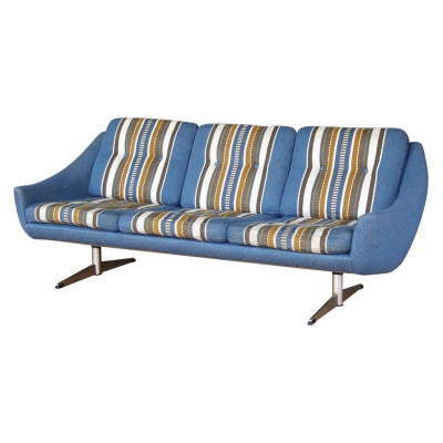 blue striped airport leg sofa