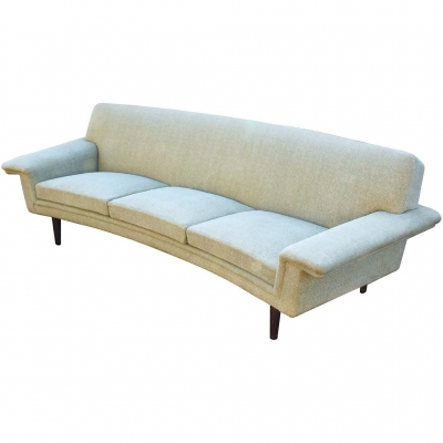GREEN CURVED 3SEAT SOFA