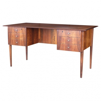 rosewood desk with metal pulls