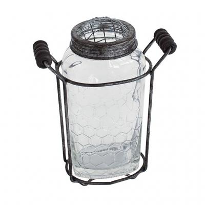 SPICE ガラスフラワーベース アイアンハンドル&メッシュ蓋付き Sサイズ