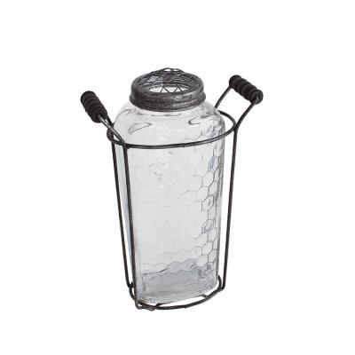 SPICE ガラスフラワーベース アイアンハンドル&メッシュ蓋付き Lサイズ