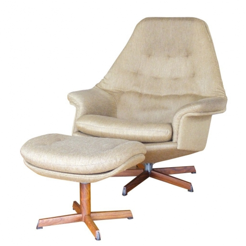 rosewood base recliner with ottoman