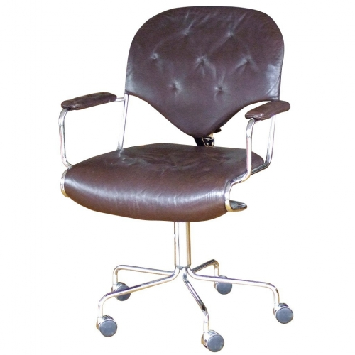 brown leather chrome office chair