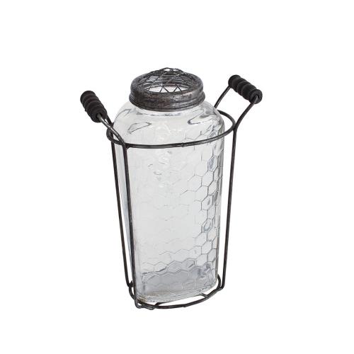 SPICE OF LIFE ガラスフラワーベース アイアンハンドル&メッシュ蓋付き Lサイズ